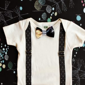 Black Polka Dot Suspender Onesie