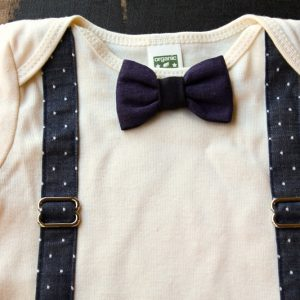 Blue Polka Dot Suspender Onesie