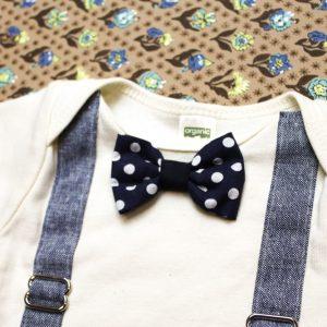 Blue Linen Suspender Onesie
