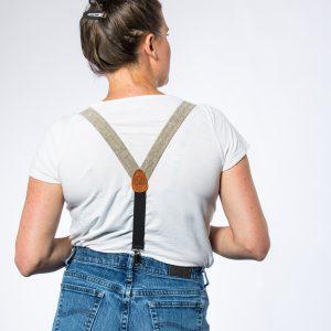 Olive Linen Women's Suspenders