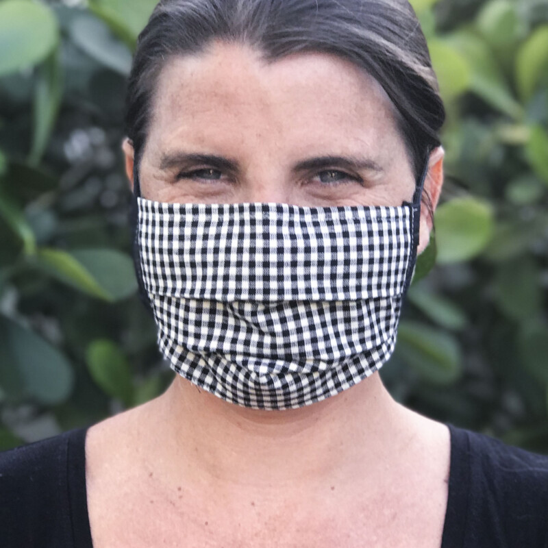 Patterned, Pleated Face Mask