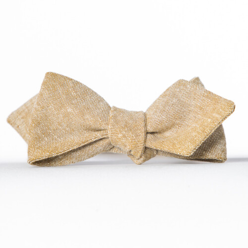 Tan Linen Arrow Bow Tie