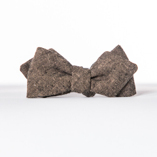 Espresso Linen Arrow Bow Tie