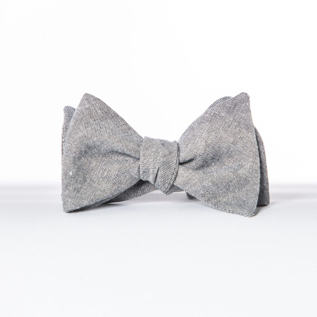 Gray Linen Butterfly Bow Tie