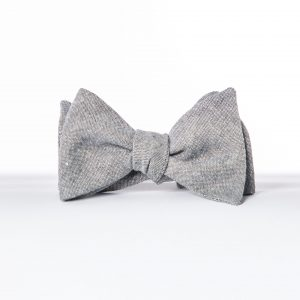 Gray Wedding Bowtie, Gray Linen Butterfly Bowtie