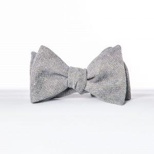 Gray Wedding Bowtie, Gray Linen Butterfly Bowtie