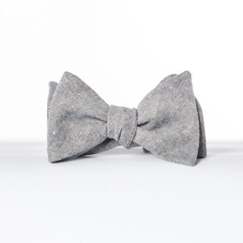 Gray Linen Butterfly Bow Tie