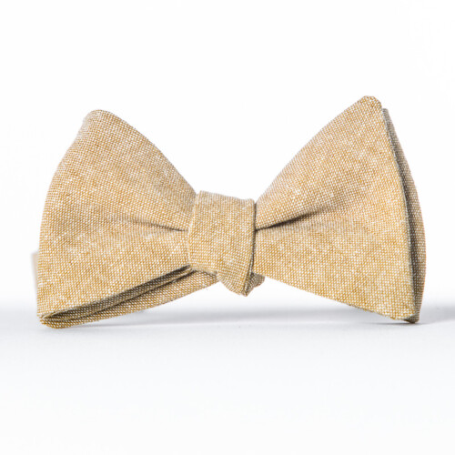Tan Linen Butterfly Bow Tie