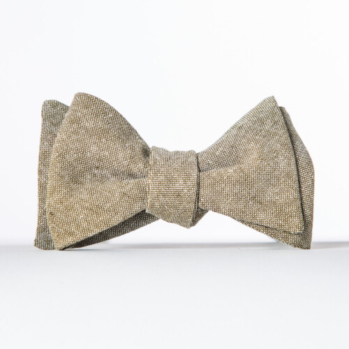 Olive Linen Butterfly Bow Tie