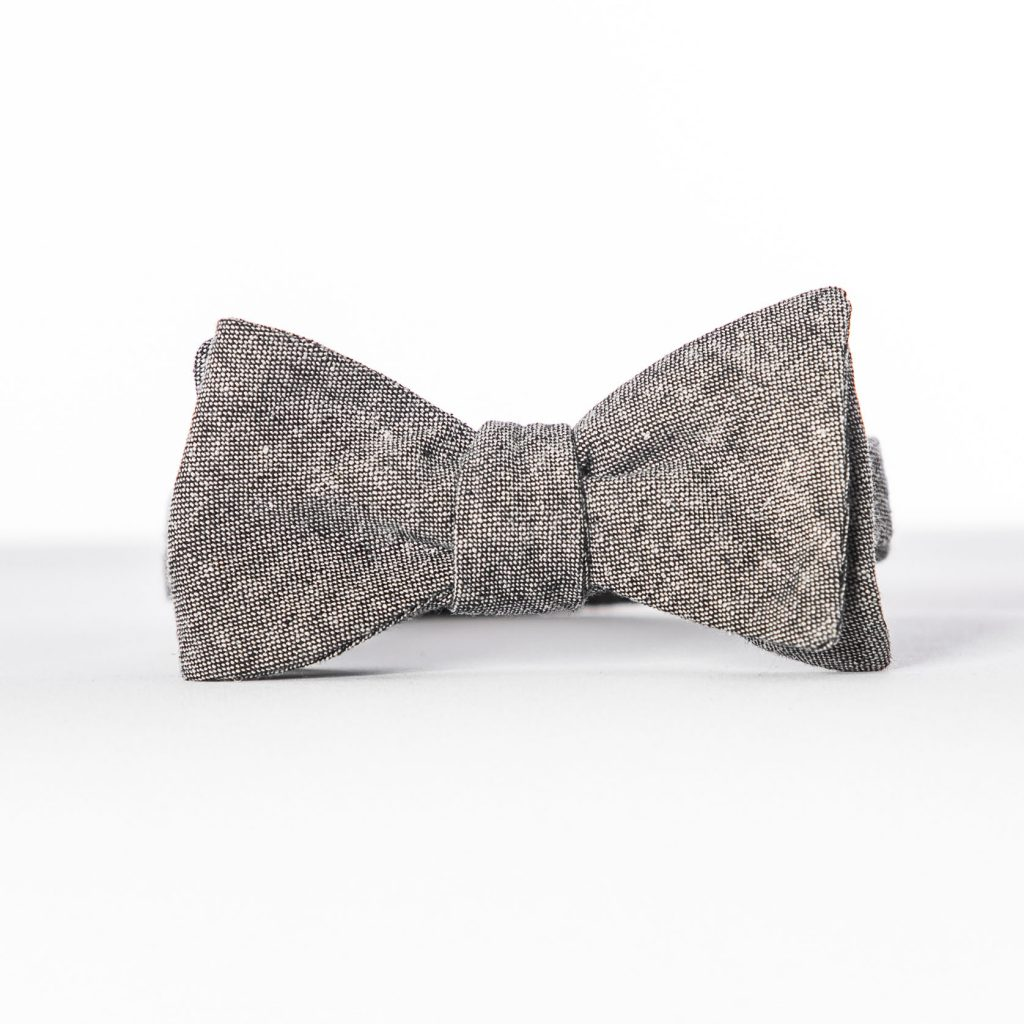 Black Linen Butterfly Bow Tie