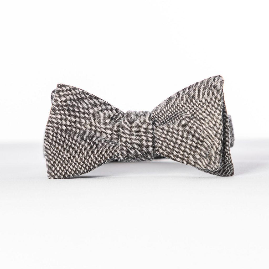 Black Linen Butterfly Bow Tie