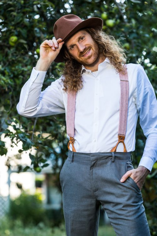 Pink Linen Button On Suspenders