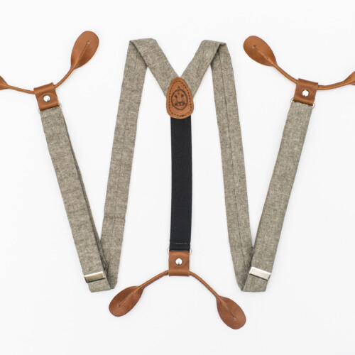 Olive Linen 1″ Button-On Suspenders