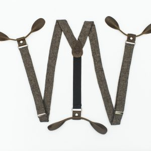 Espresso Linen Dark Brown Suspenders