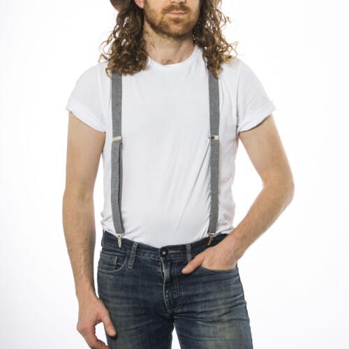Gray Linen 1″ Clip-On Suspenders