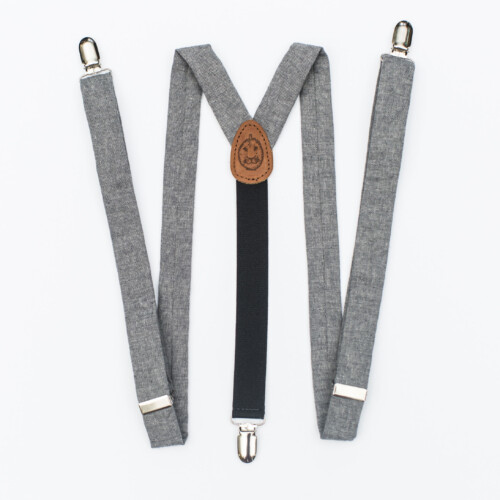 "Gray Linen 1"" Clip-On Suspenders"