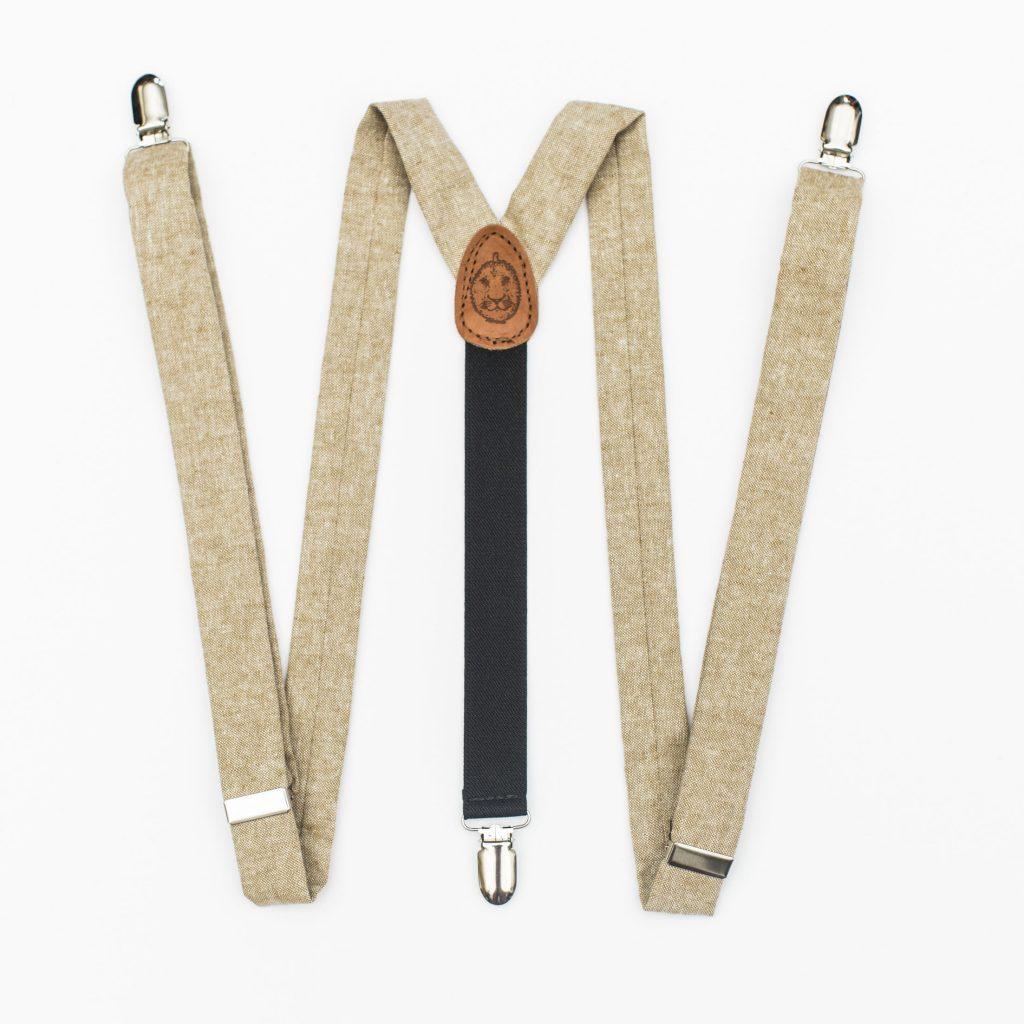 """Tan Linen 1"""" Clip-On Women's Suspenders"""