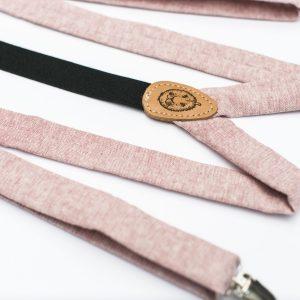 """Pink Suspenders - 1"""" Linen Clip-On Suspenders"""