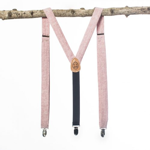 "Pink Suspenders - 1"" Linen Clip-On Suspenders"