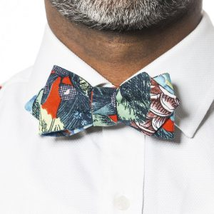 Red Dahlia Arrow Bow Tie