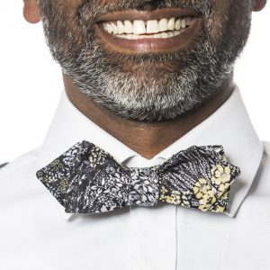 Black Flowers Arrow Bow Tie - Floral Bow Tie