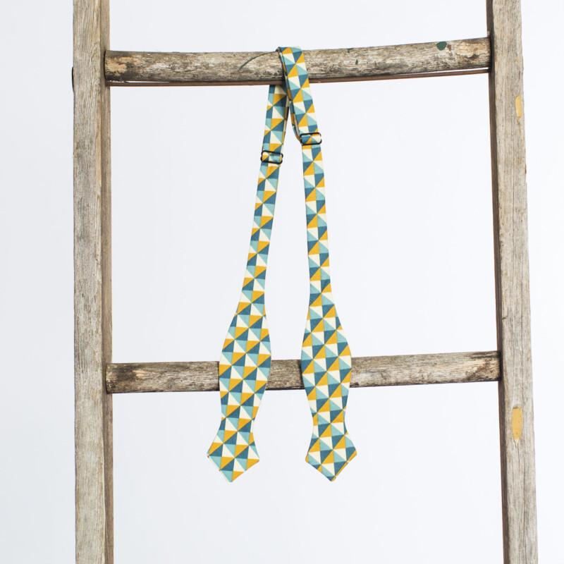 Turquoise Linen Arrow Bow Tie