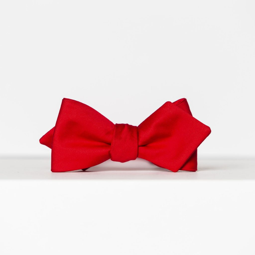Red Sateen Arrow Bow Tie