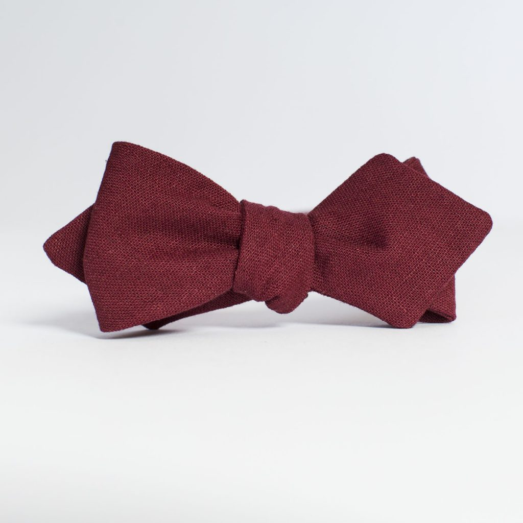Crimson Linen Arrow Bow Tie