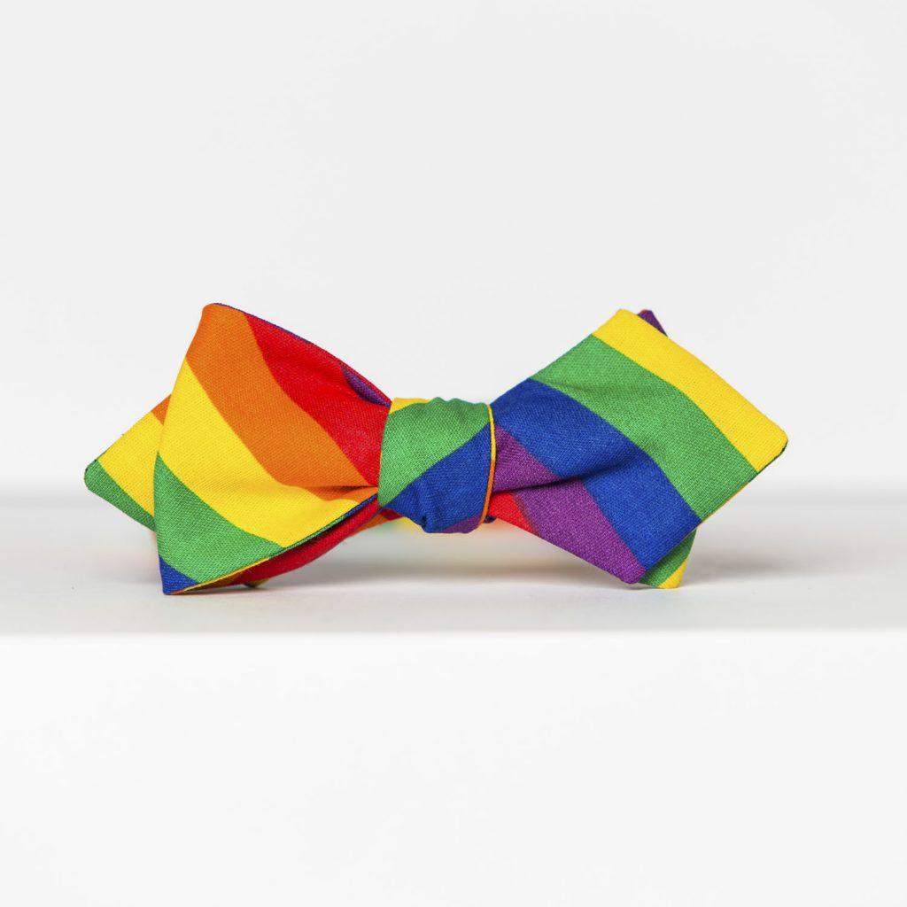 Rainbow Striped Arrow Bow Tie