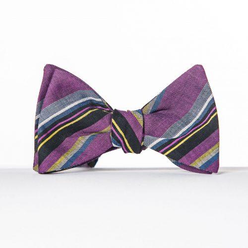 Purple Multi Striped Bow Tie