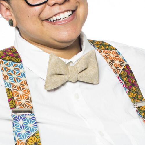 Tan Linen Pre-Tied Bow Tie