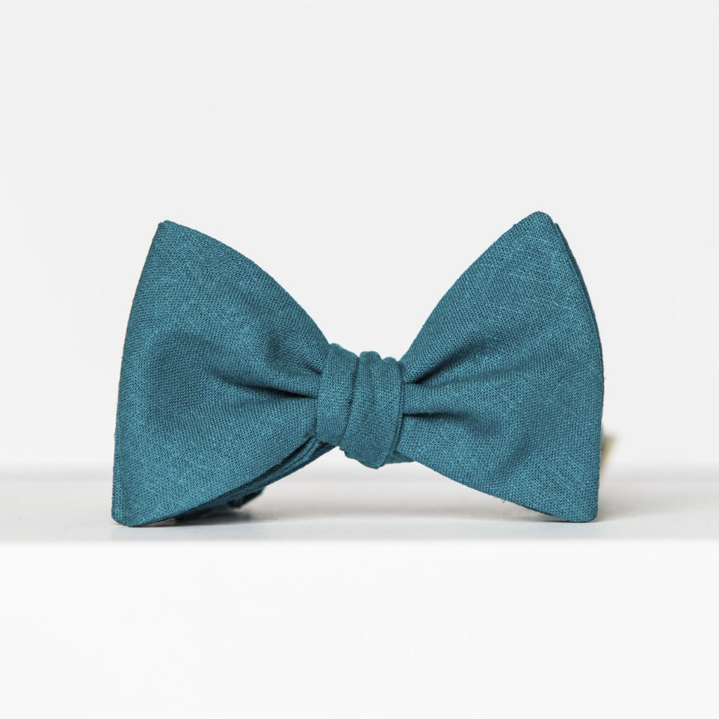 Turquoise Linen Butterfly Bow Tie