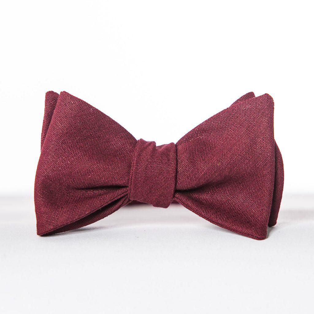 Crimson Linen Butterfly Pre-Tied Bow Tie