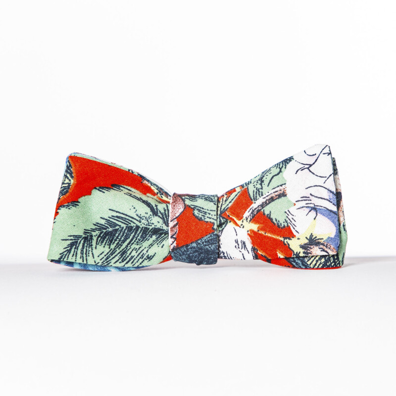 Red Dahlia Linen Paddle Bow Tie