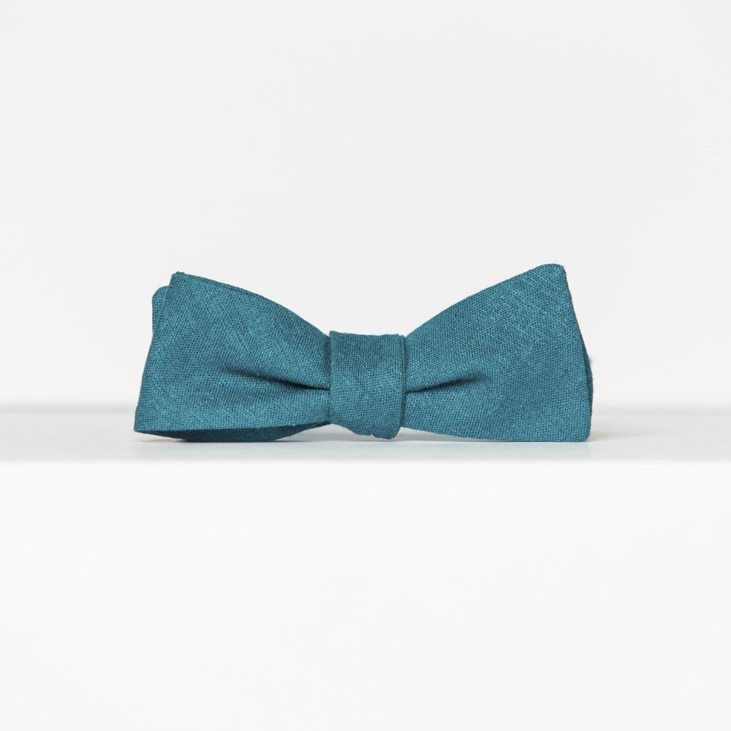 Turquoise Linen Paddle Bow Tie