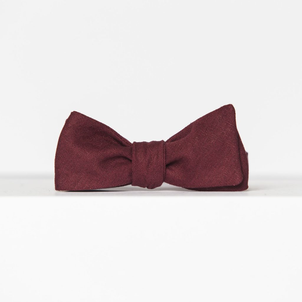 Crimson Linen Paddle Bow Tie