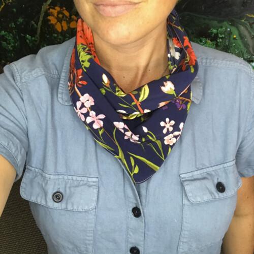 Flowery Silky Bandana Mask