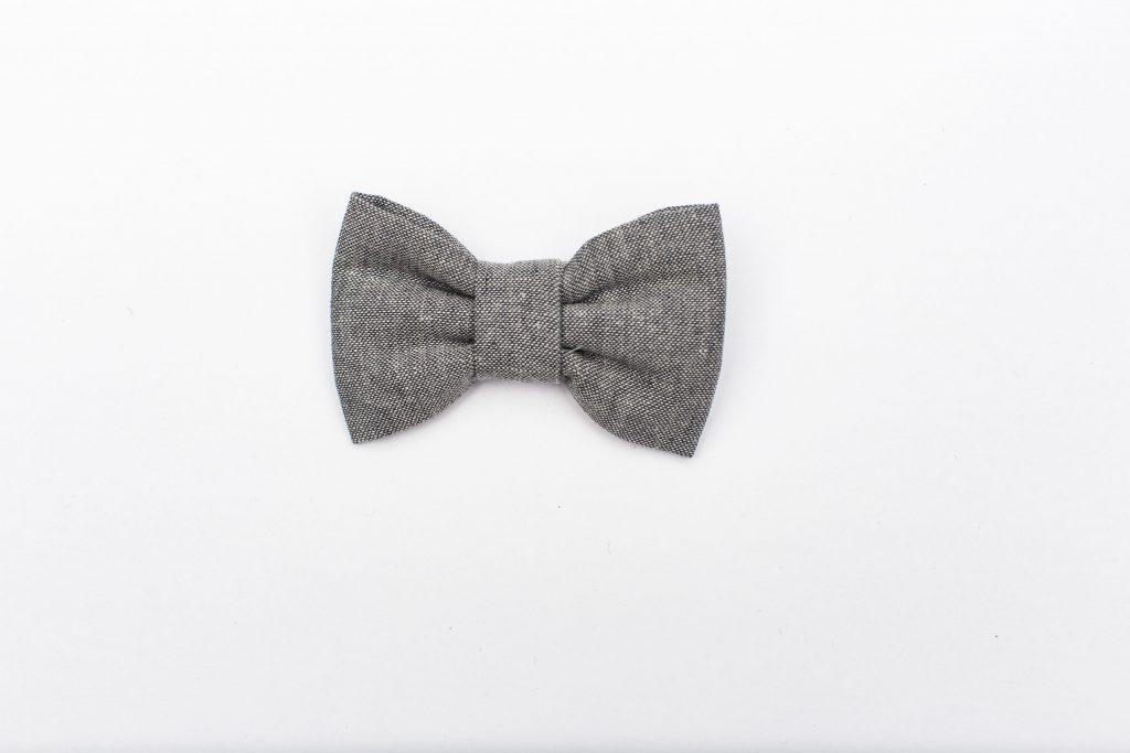 Gray Linen Kids' Bow Tie