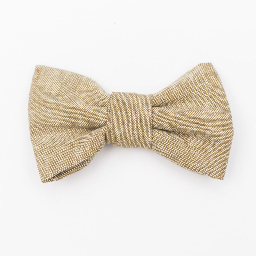 Tan Linen Kids' Bow Tie