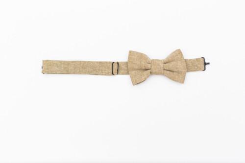 Espresso Linen Kids' Bow Tie