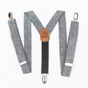 Kids' Suspenders - Blue-Gray Indigo Linen