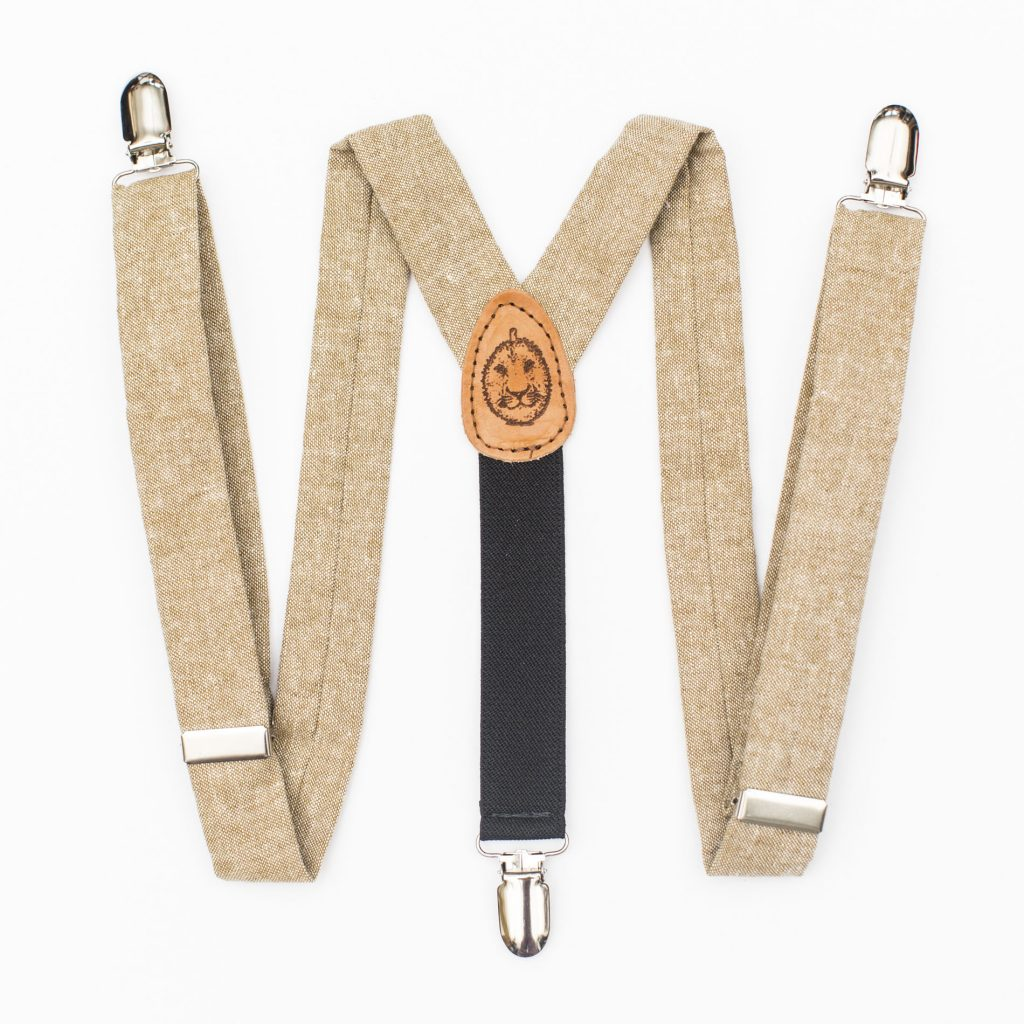 Tan Linen Kids' Suspenders