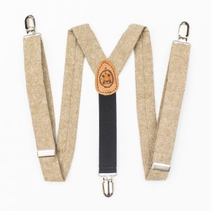 Tan Linen Kids Suspenders