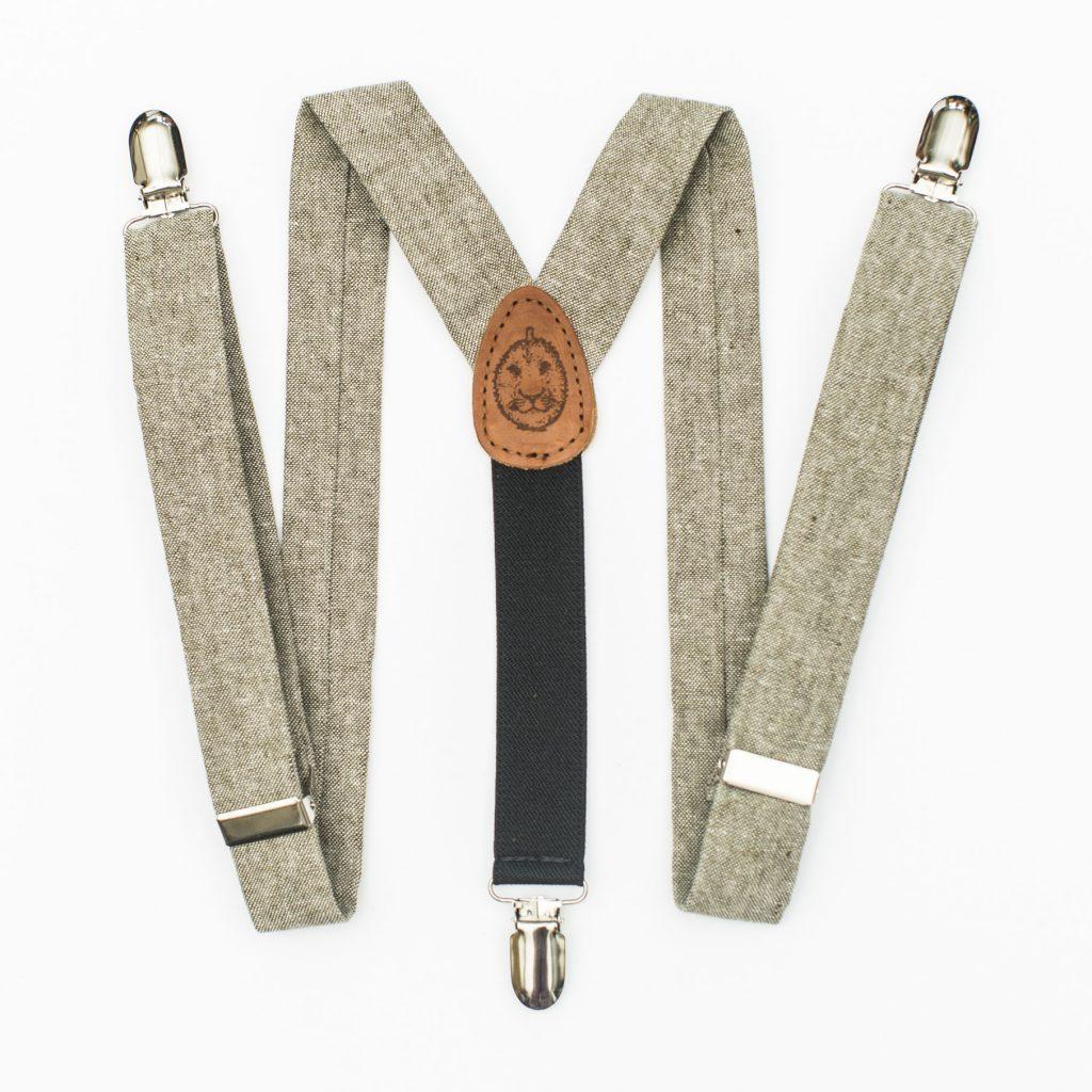 Olive Linen Kids' Suspenders