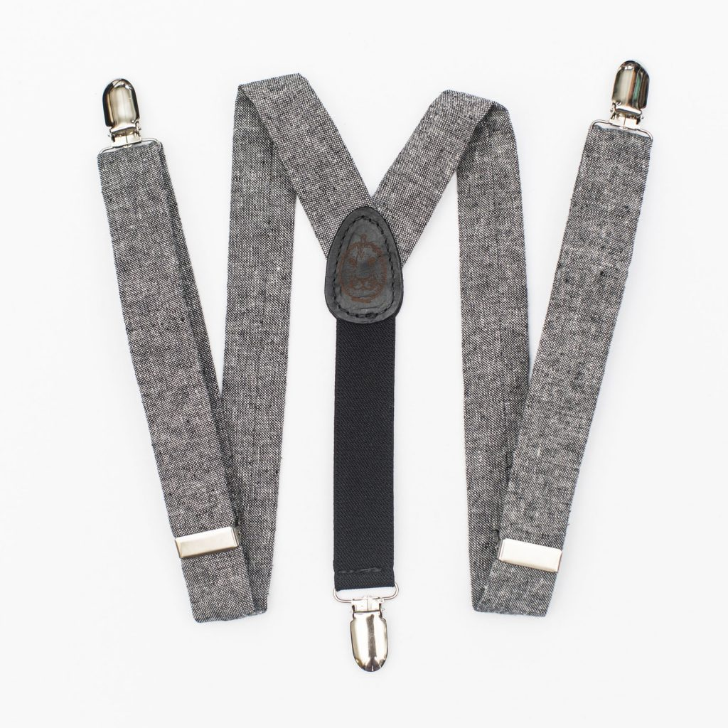 Black Linen Kids' Suspenders