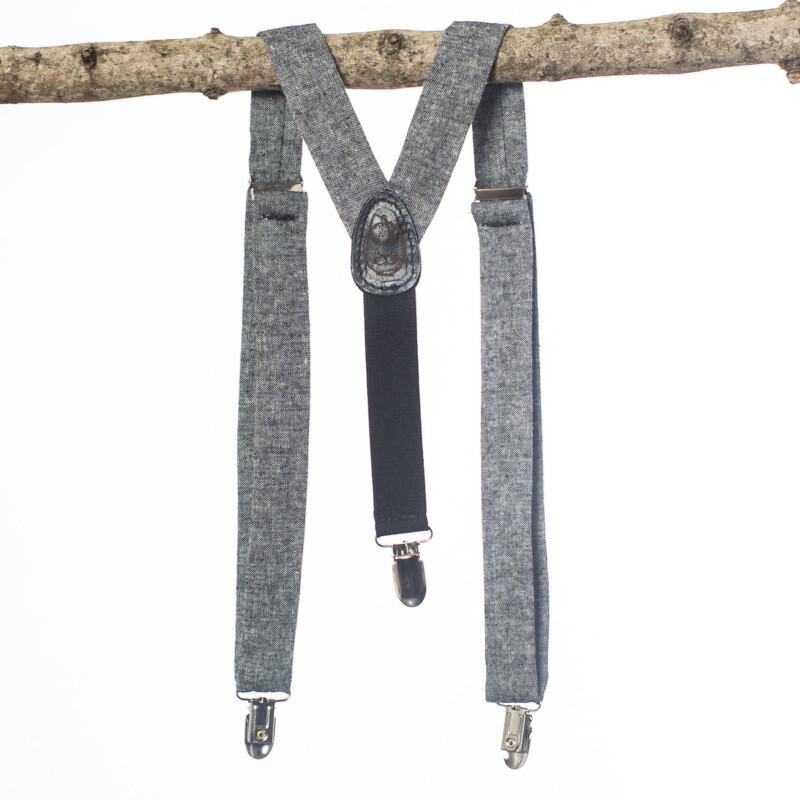 Black Linen Kids' Suspenders