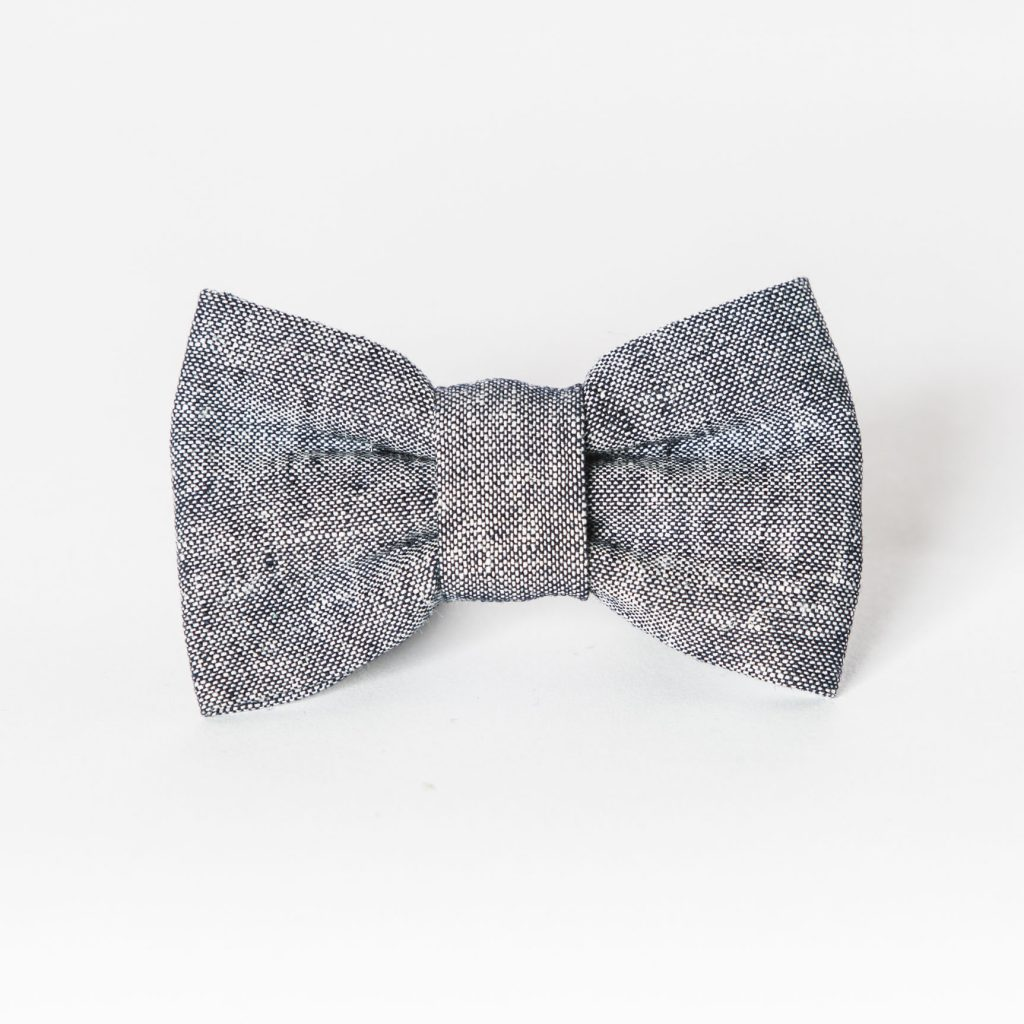 Indigo Linen Dog Bow