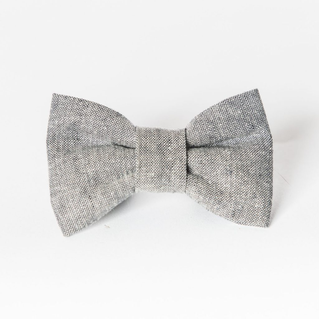 Gray Linen Dog Bow