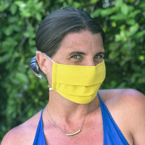 Solid Linen Pleated Face Mask