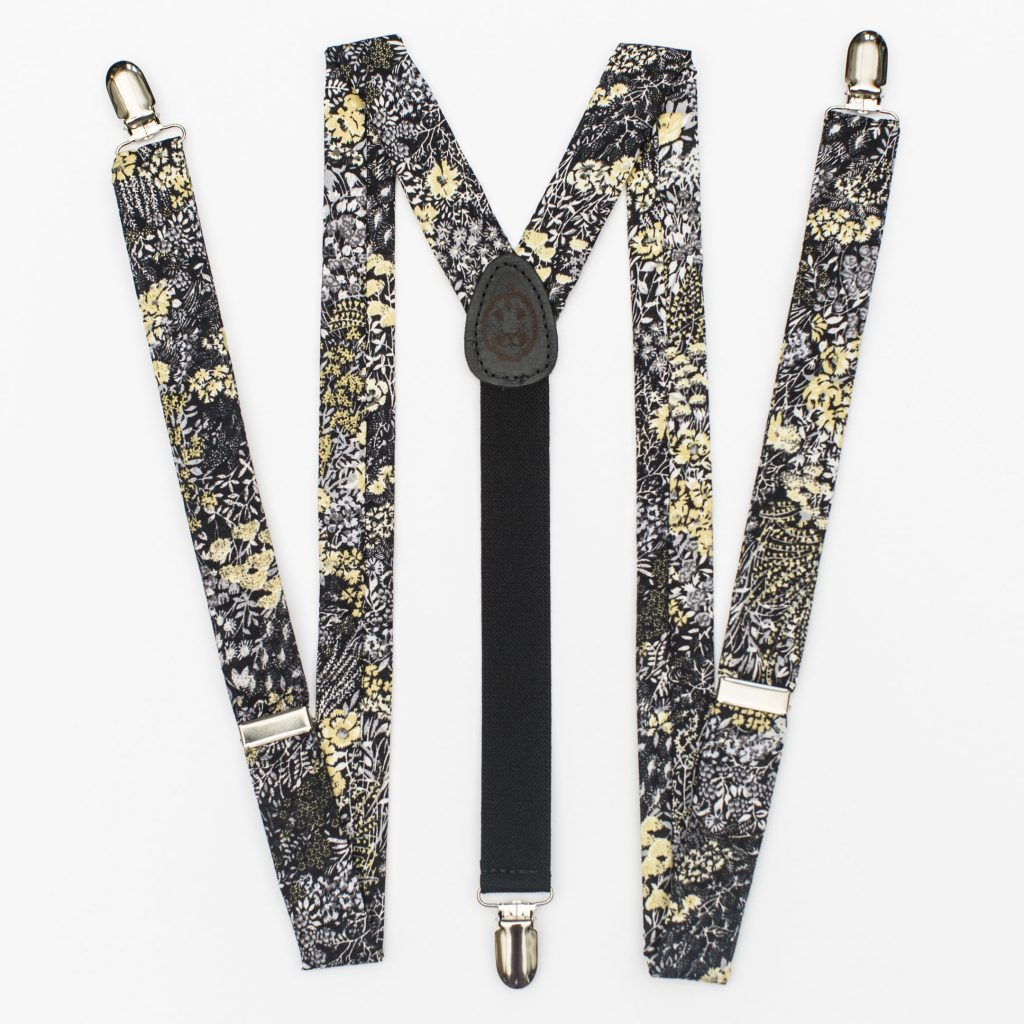 "Black Flowers 1"" Clip-On Suspenders"